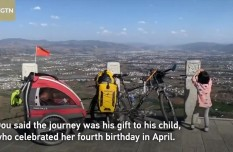 Father takes 4-year-old daughter on 71-day bicycle trip across China