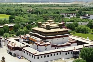 Spectacular aerial view of oldest temple in Tibet, China