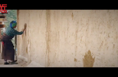 The wall is scratched by passing motorcycles, have a look at how it is fixed by an elderly Tibetan woman on her own?