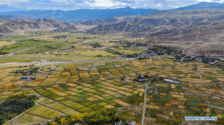 Scenery of river and fields in Nyemo County of Lhasa