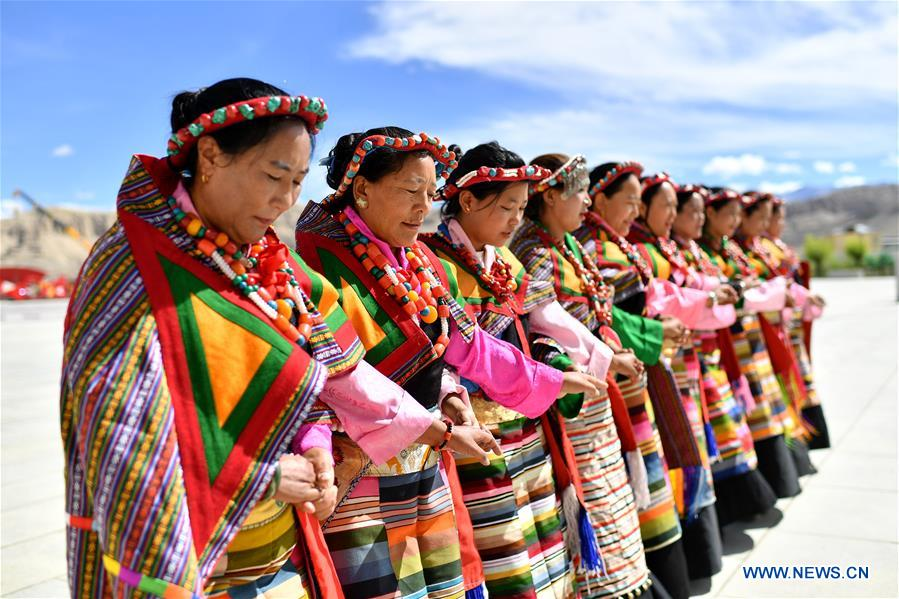 Local residents perform Guge Xuan Dance in Zanda County of Ali Prefecture, Tibet