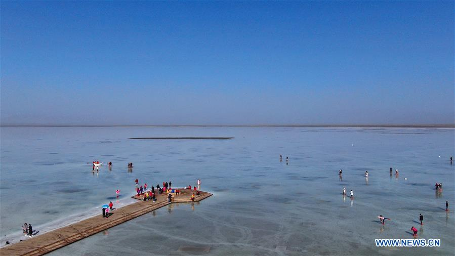 View of Caka Salt Lake in northwest China's Qinghai