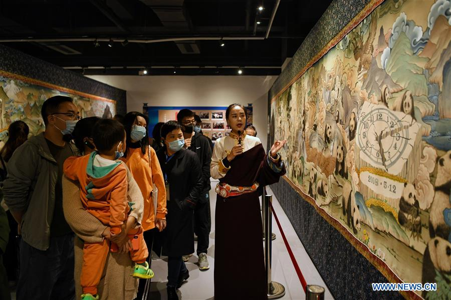 Visitors view panda-themed thangka at Sichuan Provincial Library
