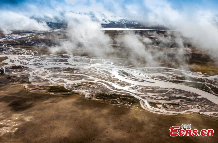 Tongtian River shrouded in clouds in China's Qinghai