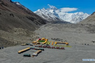 Waste disposal facilities installed at Mount Qomolangma base camp