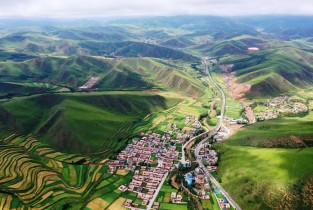 Aerial view of Gannan Tibetan Autonomous Prefecture in NW China (I)