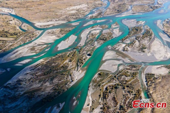 Aerial view of Lhasa River in Tibet